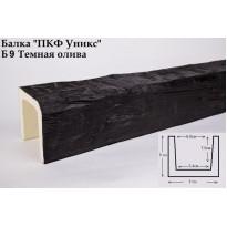 Декоративная балка из полиуретана Б9 (тёмная олива) (9*9*300) классика Уникс